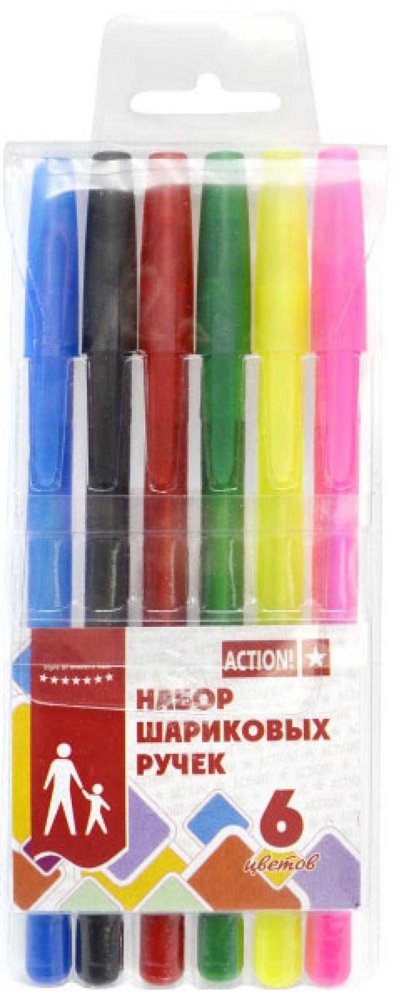 Набор шариковых ручек Action! ABP0604 6 шт разноцветный ABP0604 набор шариковых ручек beifa a plus aa999 6 1 мм 6 цветов