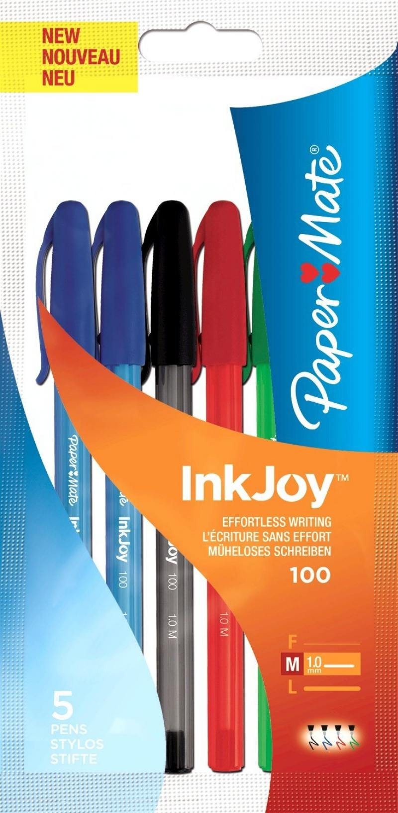 Набор шариковых ручек Paper Mate InkJoy 100 5 шт разноцветный 1 мм 1842139 1842139 набор шариковых ручек стамм рс07 4 шт разноцветный 1 мм рс07