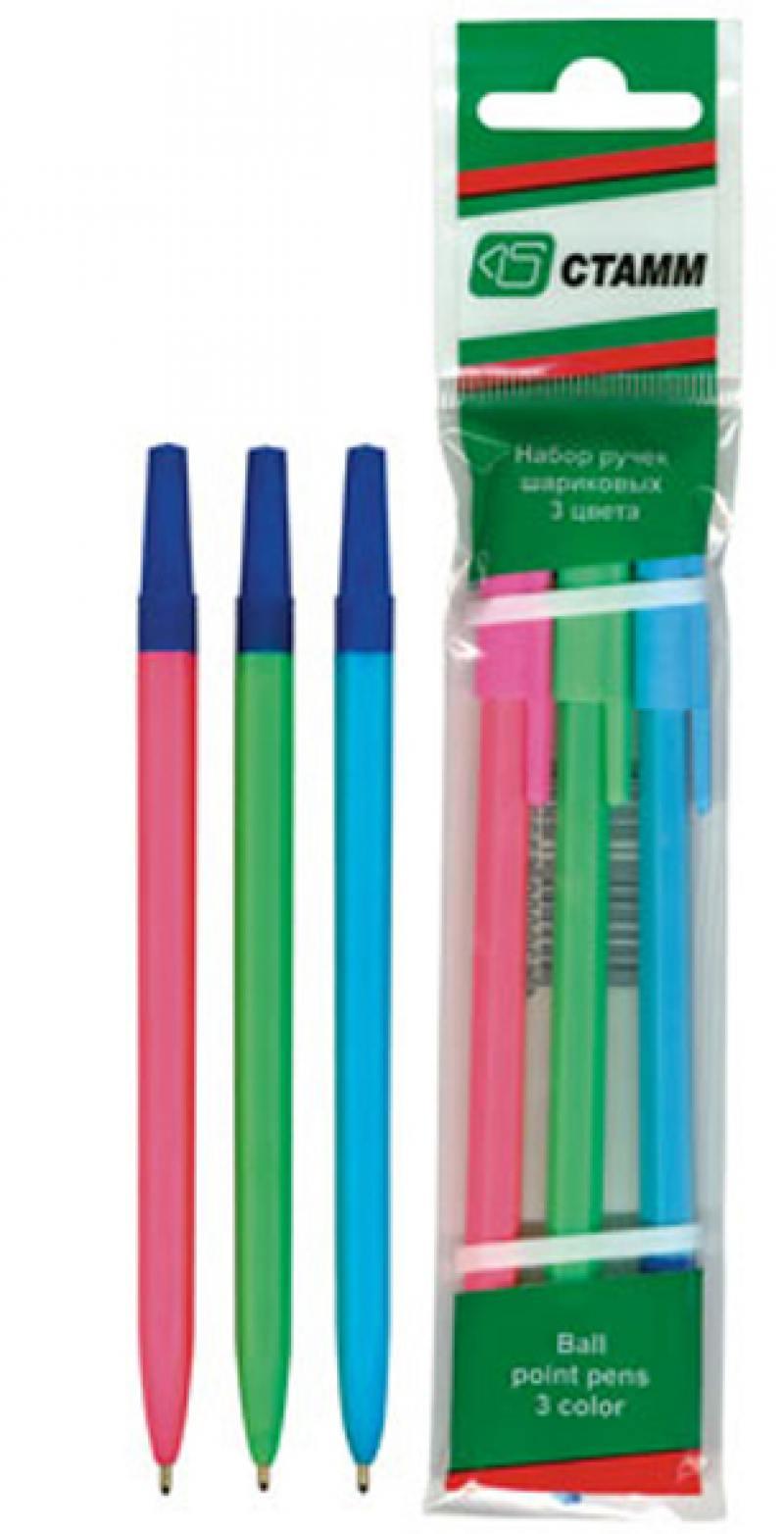 Набор шариковых ручек СТАММ РШ06 3 шт разноцветный 1 мм в ассортименте РШ06 набор фломастеров стамм карапуз 3 мм 6 шт разноцветный ф301 ф301