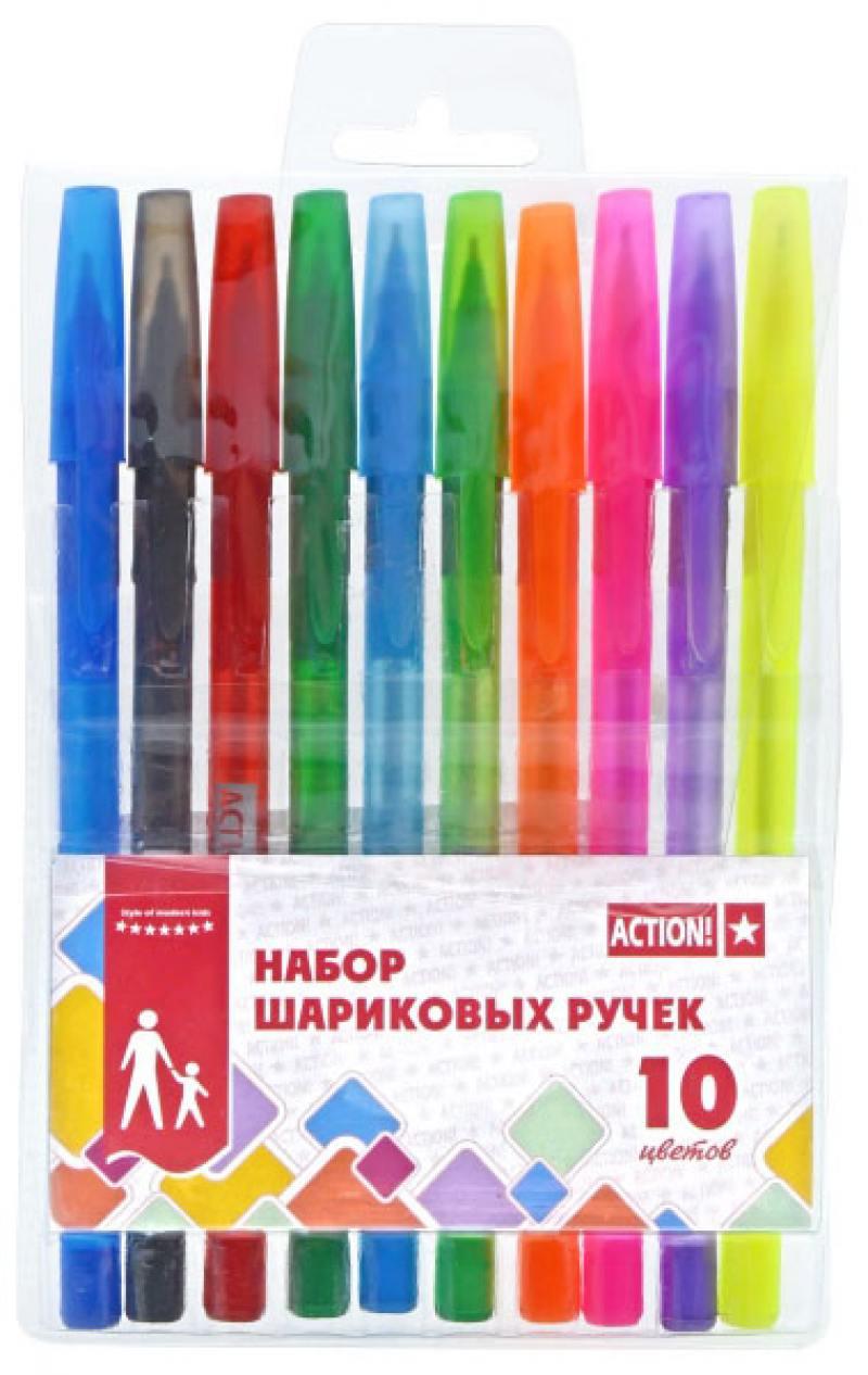 Набор шариковых ручек Action! ABP1004 10 шт разноцветный ABP1004 канцелярия berlingo набор шариковых ручек 10 цветов 10 шт