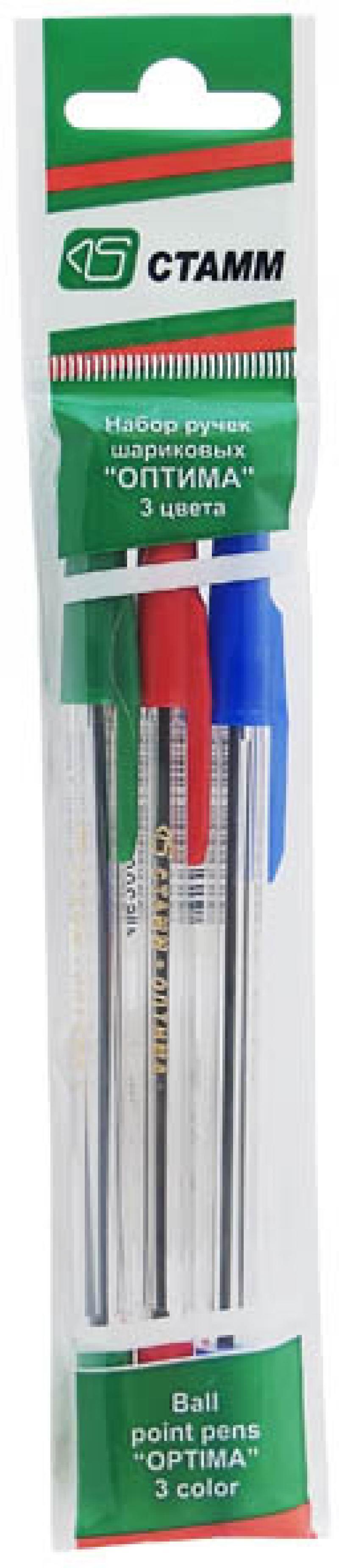 Набор шариковых ручек СТАММ РО06 3 шт разноцветный 1 мм РО06 набор фломастеров стамм карапуз 3 мм 6 шт разноцветный ф301 ф301