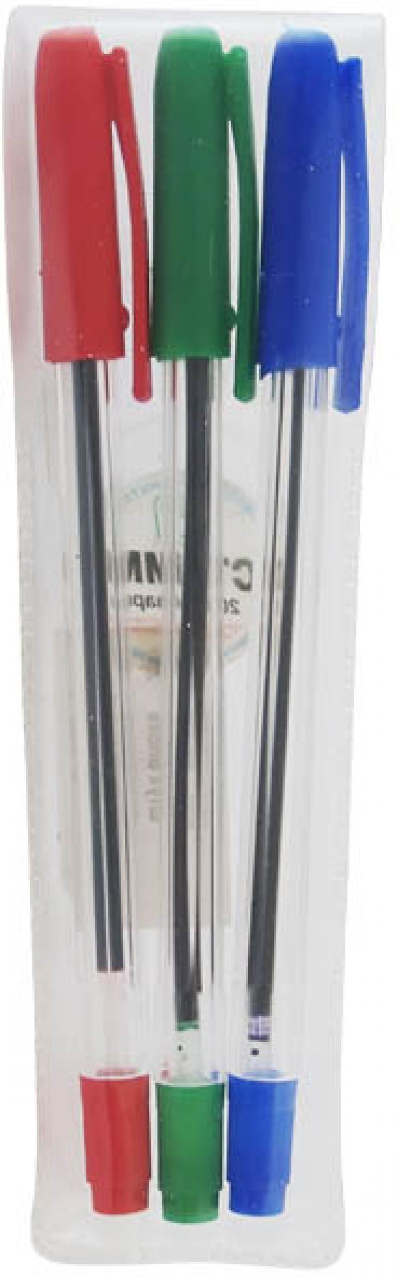 Набор шариковых ручек СТАММ РС06 3 шт разноцветный 1 мм РС06 набор шариковых ручек hauser grip well 3 шт