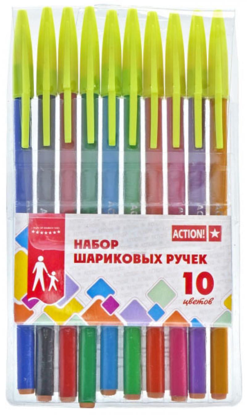 Набор шариковых ручек Action! ABP1002 10 шт разноцветный ABP1002 набор шариковых ручек action 10 цветов полупрозрачный корпус