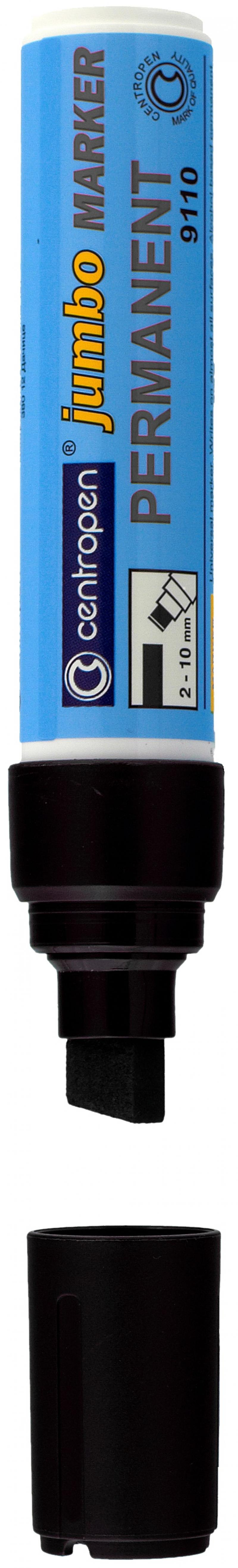 Маркер перманентный Centropen JUMBO 10 мм черный 9110/Ч 9110/Ч маркер флуоресцентный centropen 8722 1о оранжевый 8722 1о