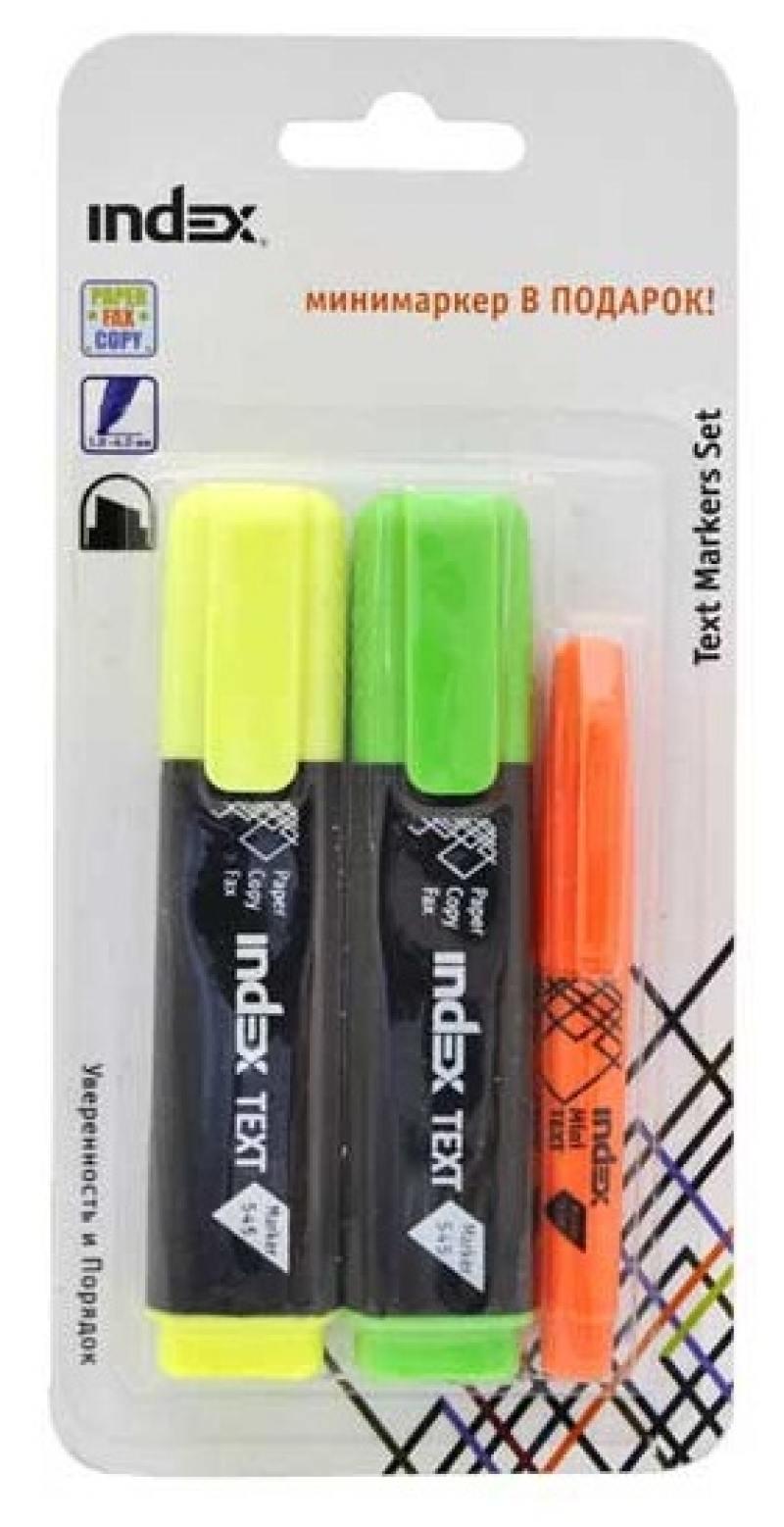 Набор маркеров Index IMH545/2/P 1 мм 3 шт разноцветный IMH545/2/P текстмаркер index index imh545 1 мм зеленый
