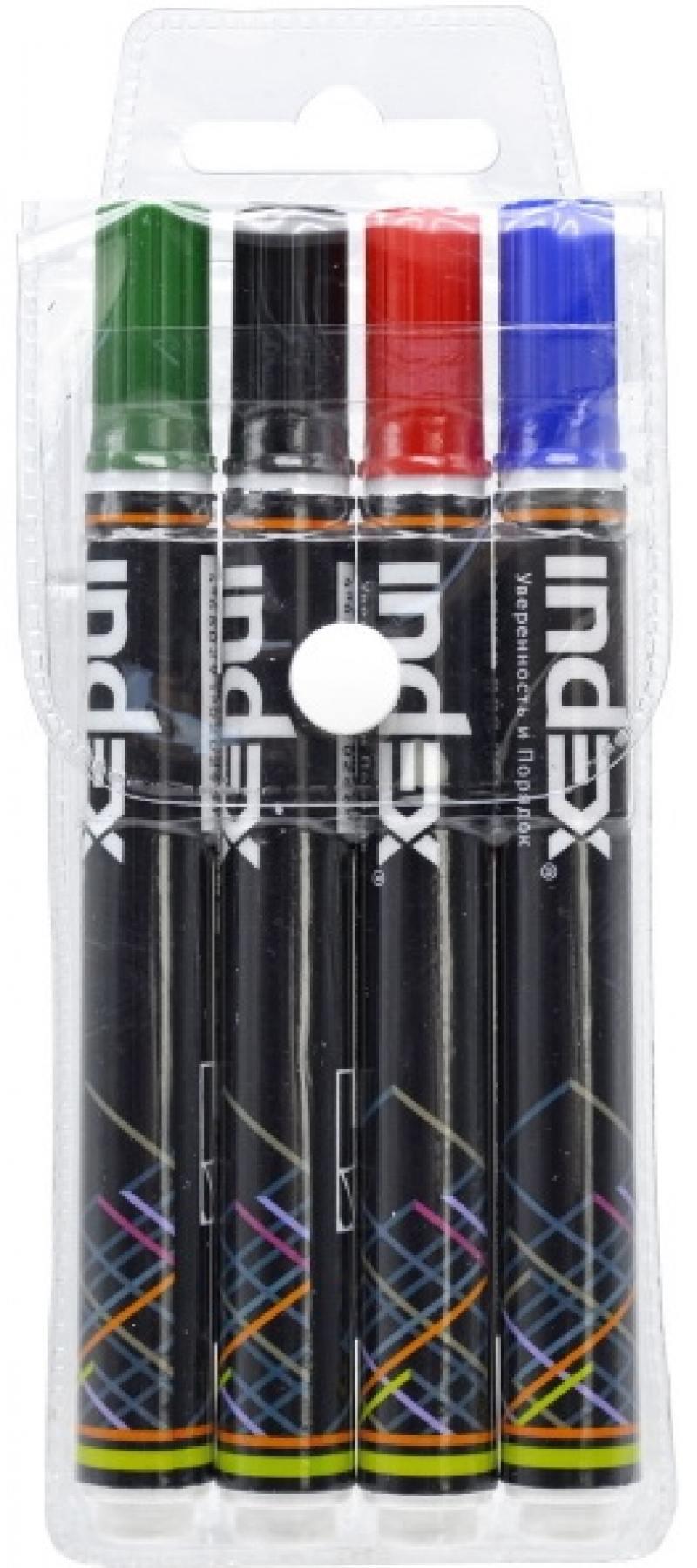 Маркер для доски Index IMW200/4 5 мм 4 шт разноцветный IMW200/4 маркер для доски stanger bm240 3 мм 4 шт разноцветный 321002