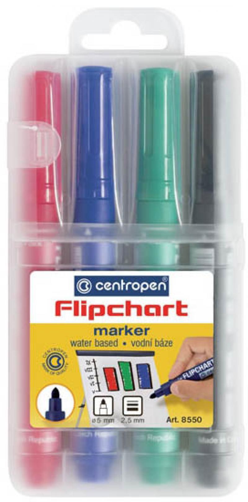 Набор маркеров Centropen FLIPCHART 2.5 мм 4 шт синий зеленый черный красный 8550/4 PVC 8550/4 PVC набор украшений елочных шары 10 шт 4 см