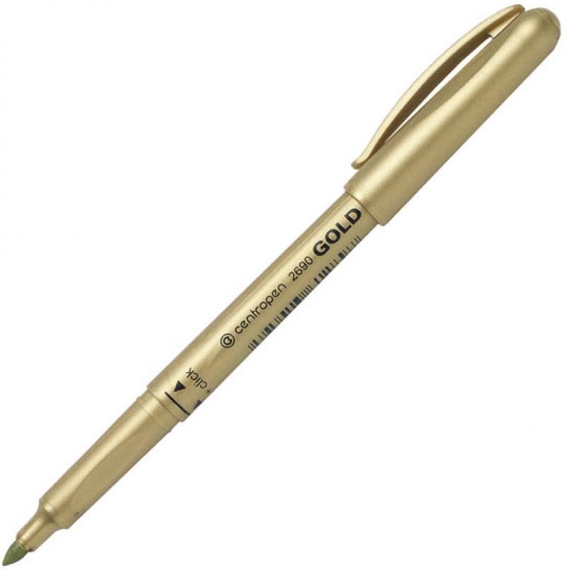 Маркер перманентный Centropen 2690/1ЗОЛ золотистый маркер флуоресцентный centropen 8722 1о оранжевый 8722 1о