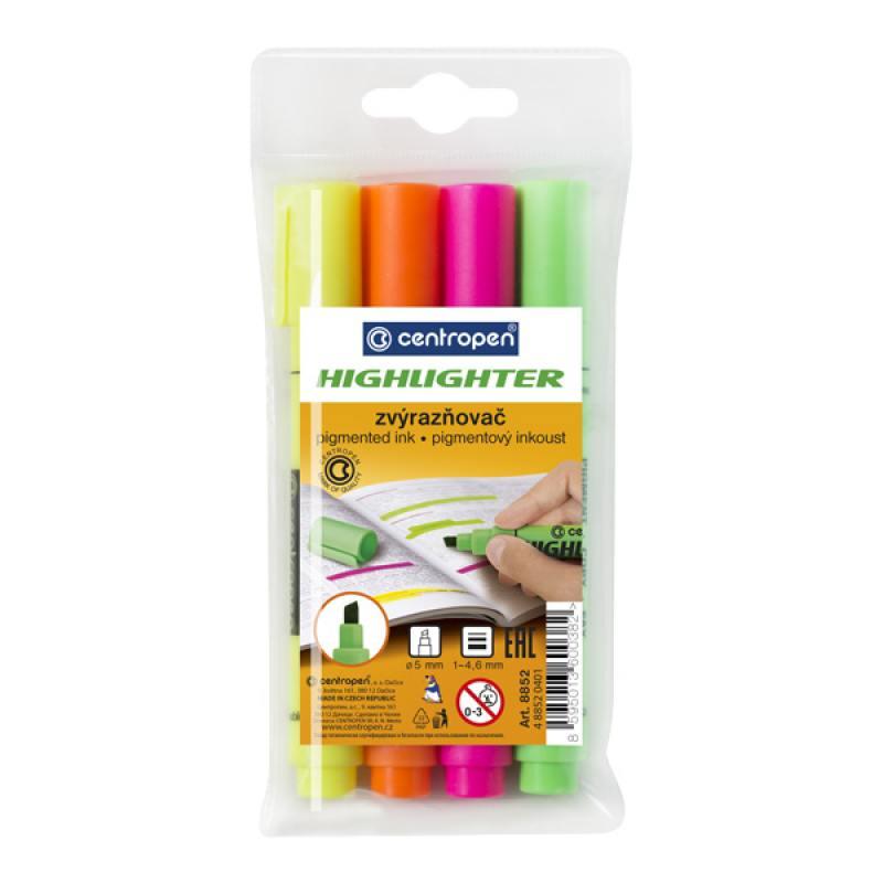 Набор маркеров флуоресцентных Centropen 8852/4PVC 4.6 мм 4 шт разноцветный chameleon набор маркеров pastel tones 5 шт