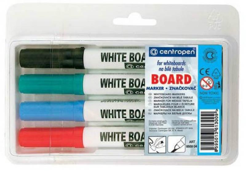 Маркер для доски Centropen 8559/4PVC 2.5 мм 4 шт разноцветный 8559/4PVC маркер для доски centropen 8569 1c 4 6 мм синий 8569 1c