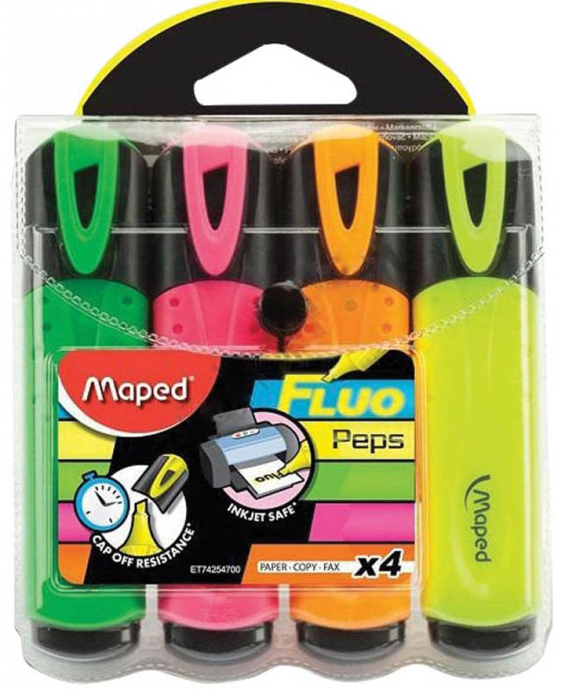 Набор текстмаркеров Maped Fluo Pep's Classic 1 мм 4 шт разноцветный 742547 742547 maped набор математический essentials 8 предметов с циркулем