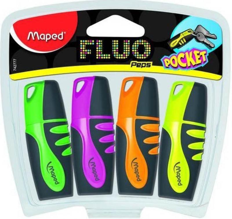 Набор текстмаркеров Maped FLUO PEP'S POCKET 1 мм 4 шт разноцветный 742777 742777 набор магнитов maped цвет синий 22 мм 4 шт