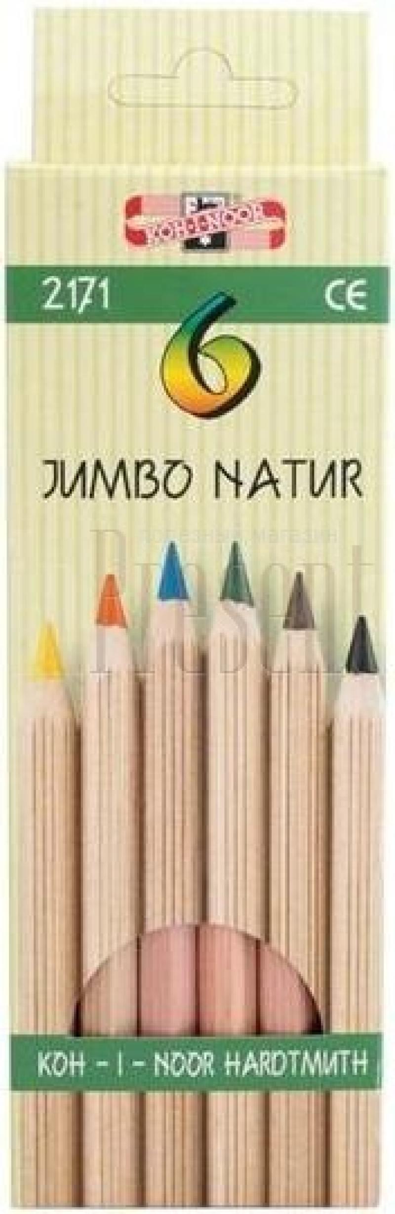 Набор цветных карандашей Koh-i-Noor JUMBO NATUR 6 шт 2171N/6 2171N/6 набор свечей тигренок с подсолнухом 9х6 см 6 шт