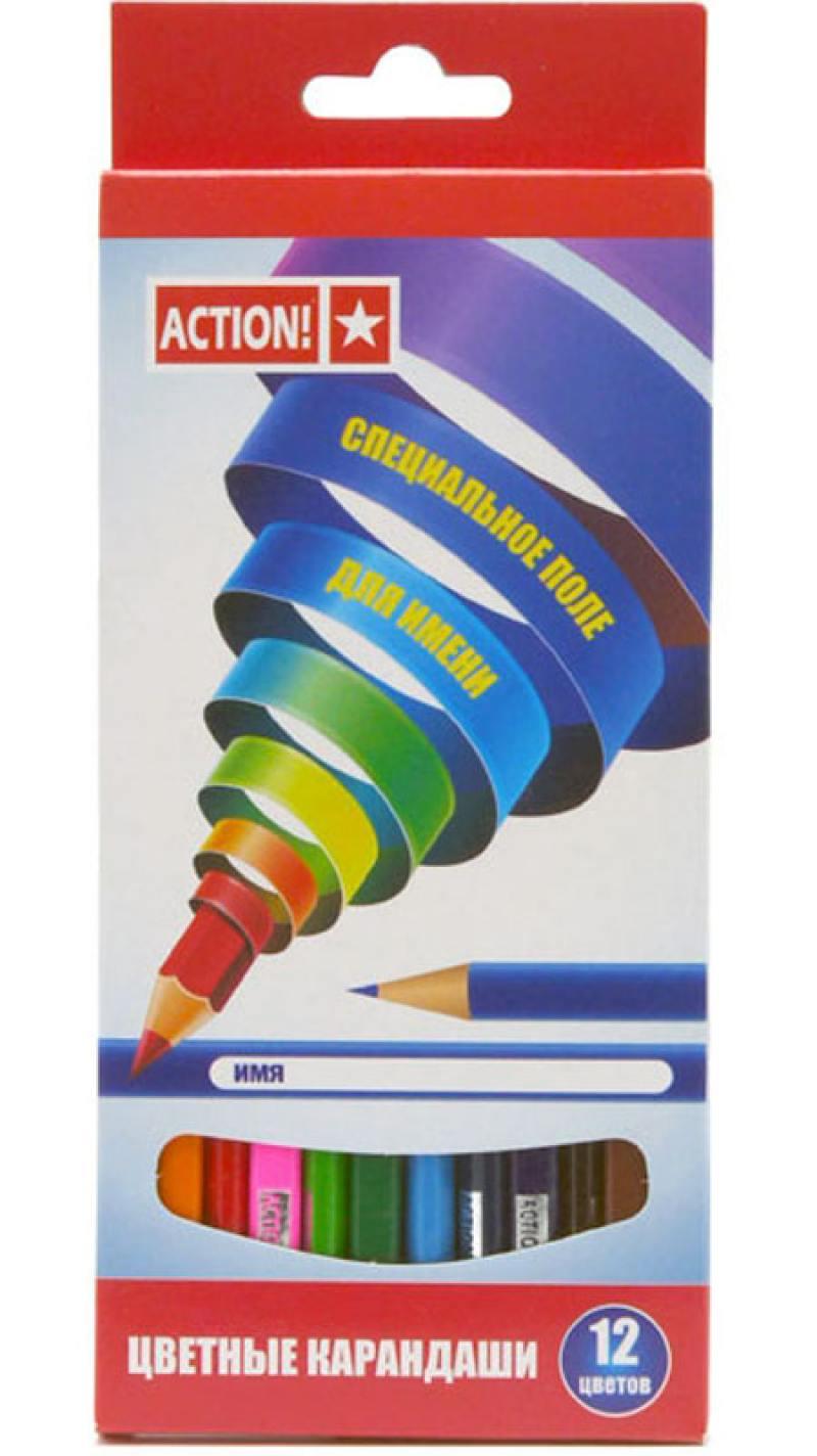 Набор цветных карандашей Action! ACP220-12 12 шт ACP220-12 набор цветных карандашей maped color peps 12 шт 683212 в тубусе подставке