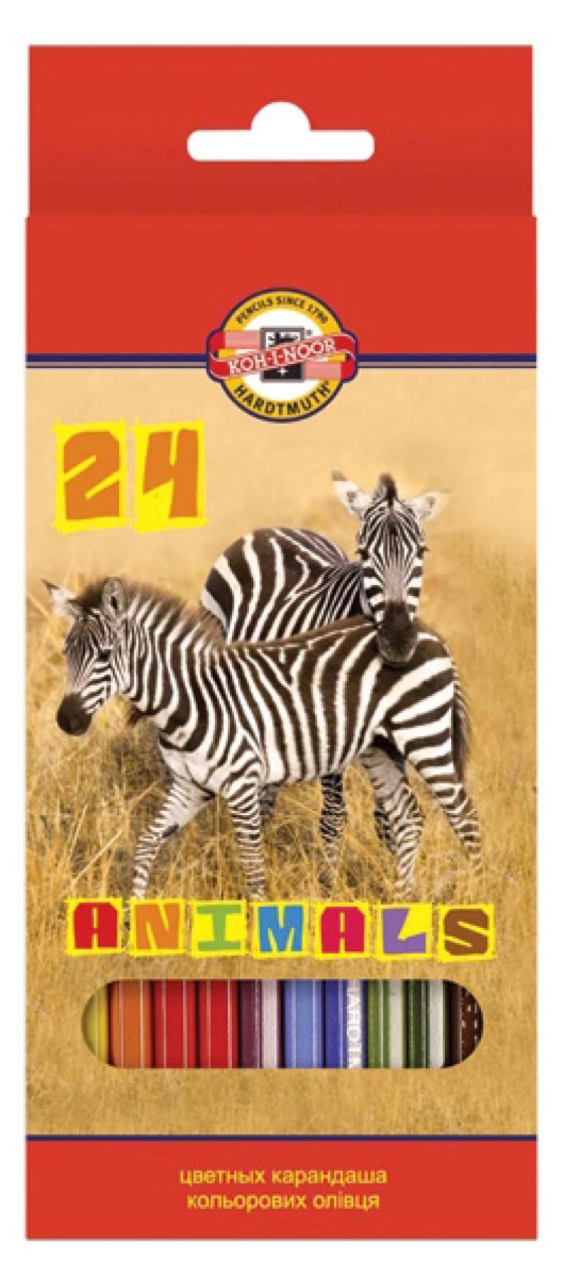 Набор цветных карандашей Koh-i-Noor Животные 24 шт 3554/24 8 KS 3554/24 8 KS набор цветных карандашей silwerhof 134206 24 народная коллекция 24 шт