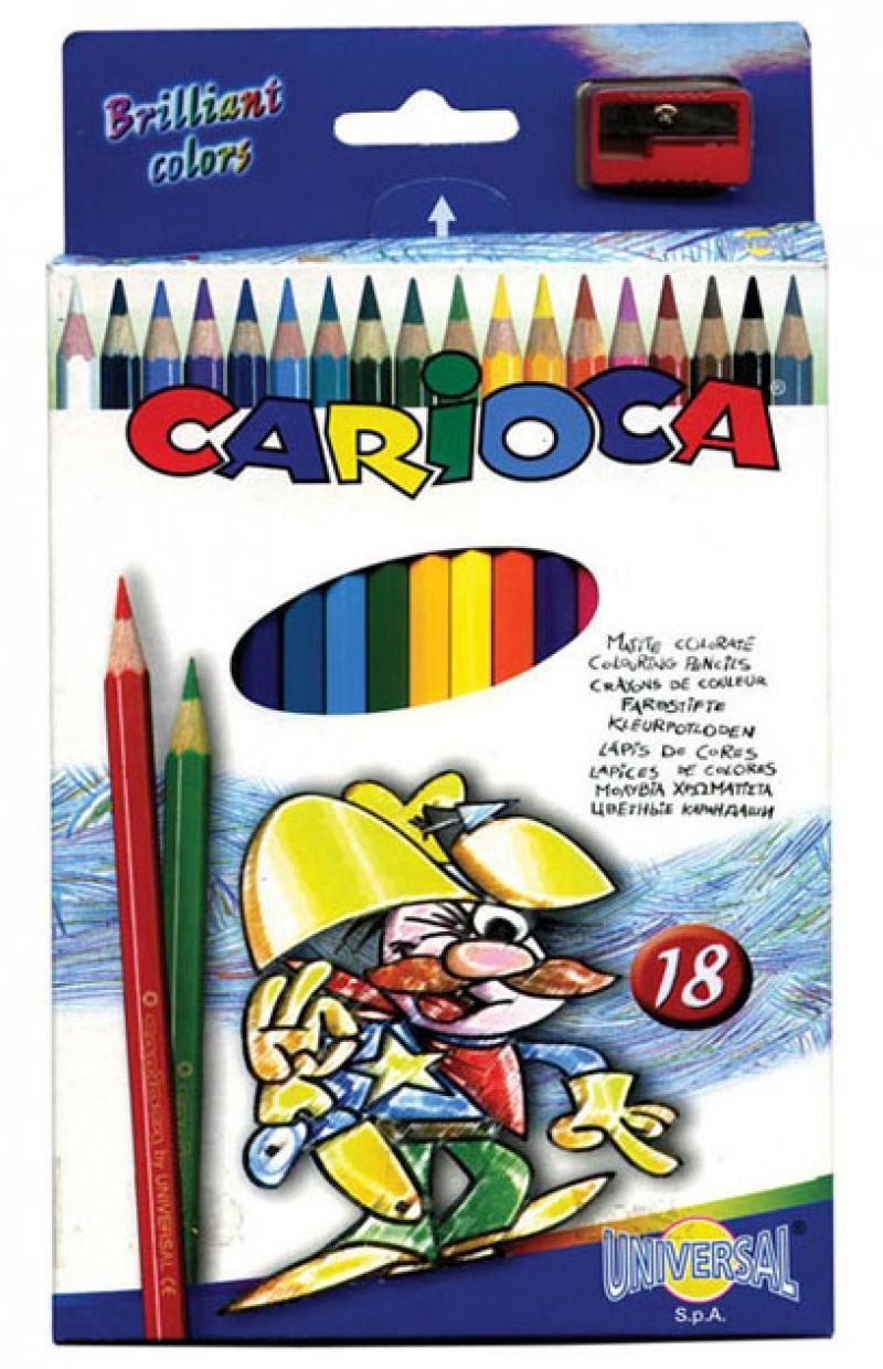 Набор цветных карандашей Universal Carioca 18 шт 17.5 см односторонние 41865 + точилка 41865 набор цветных карандашей 18 шт spider man classic