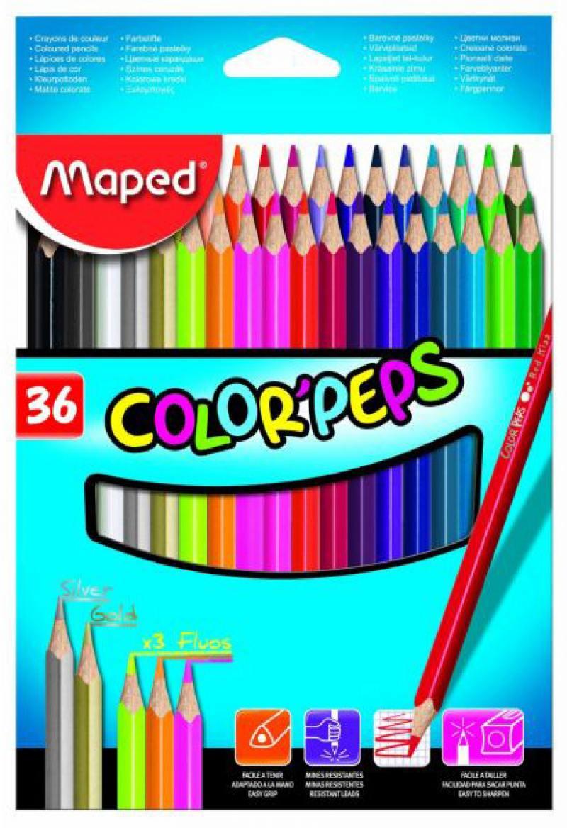 Набор цветных карандашей Maped Color Peps 36 шт 832017 карандаши цветные maped color peps 36 цветов