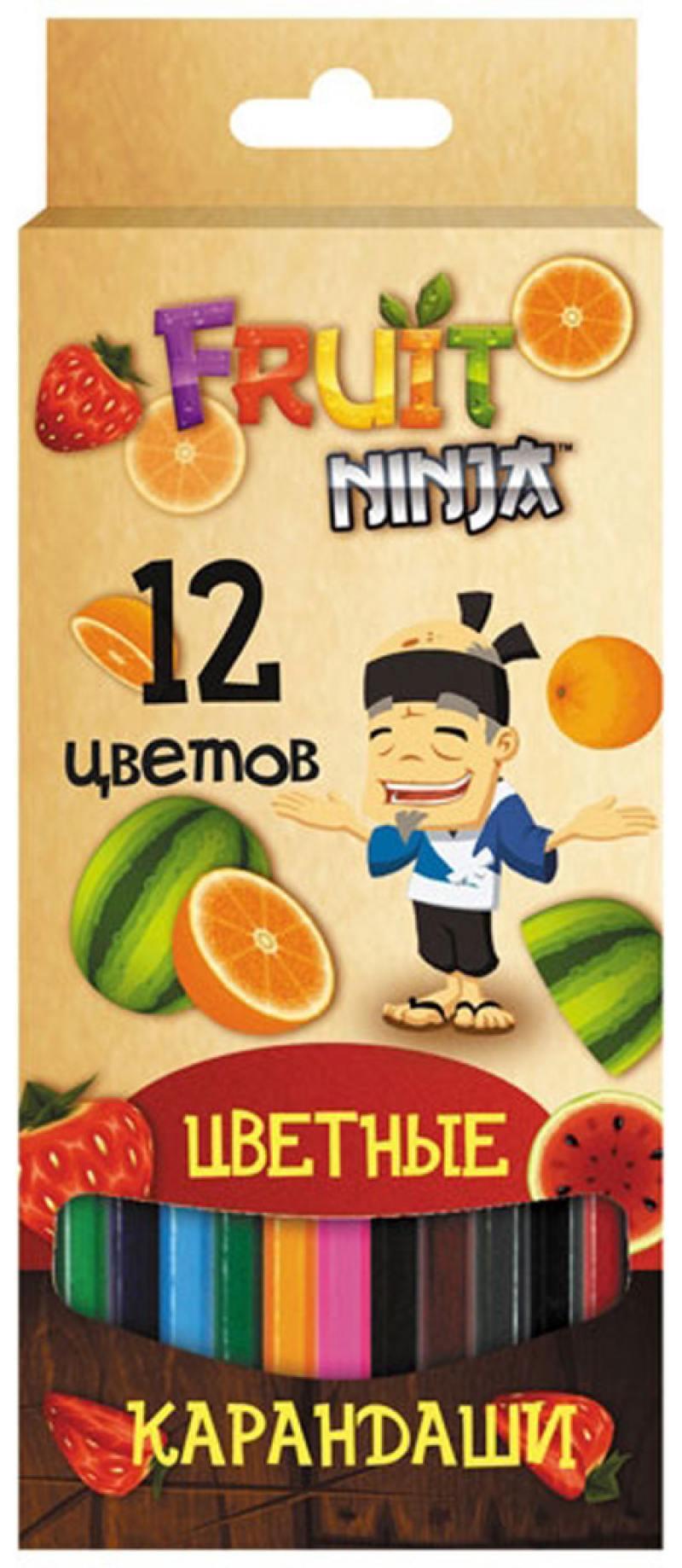 Набор цветных карандашей Action! Fruit Ninja 12 шт FN-ACP205-12 FN-ACP205-12 набор цветных карандашей maped color peps 12 шт 683212 в тубусе подставке