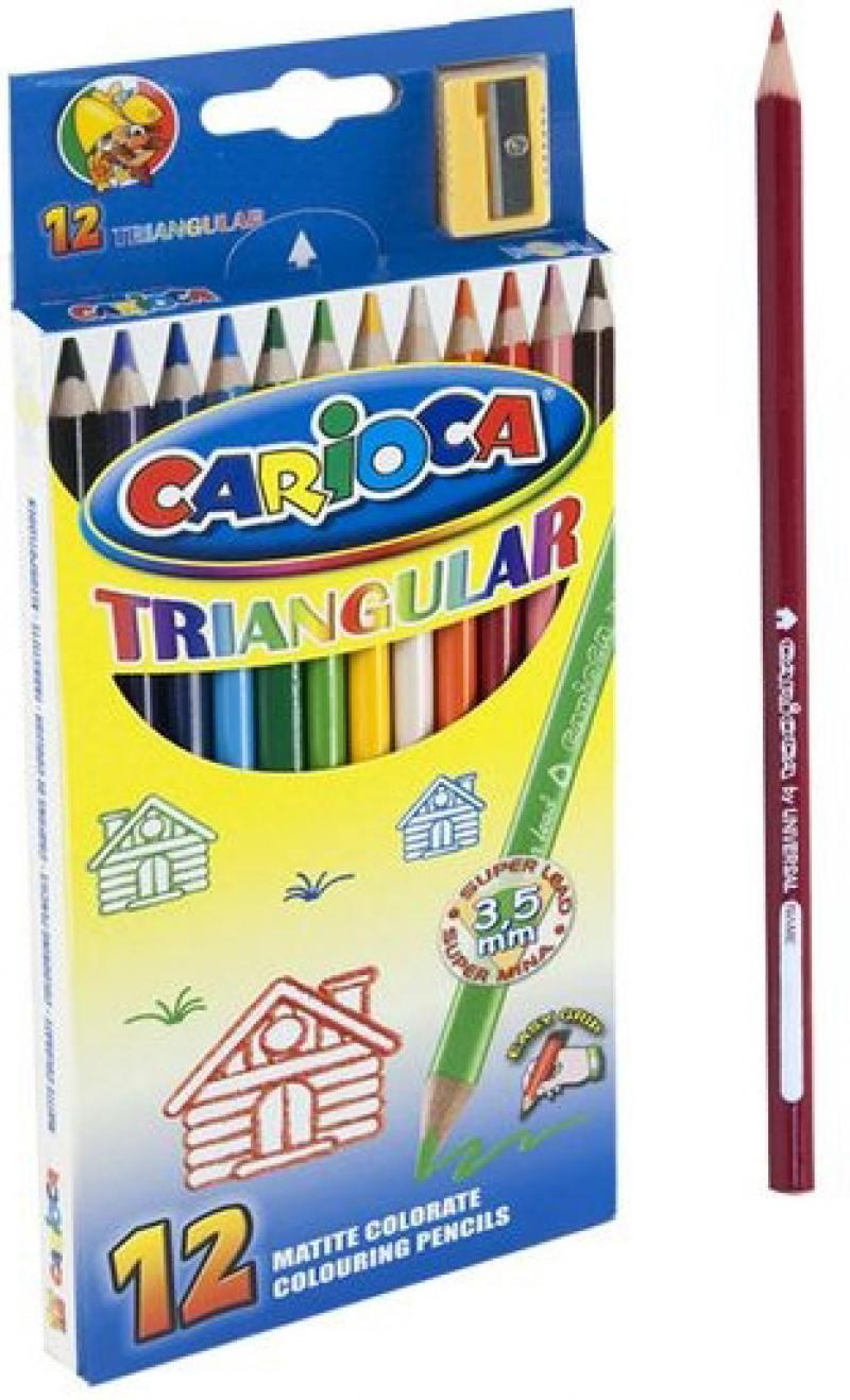 Набор цветных карандашей Universal Carioca Triangular 12 шт 42515/12 + точилка 42515/12 набор карандашей цветных carioca 24цв точилка