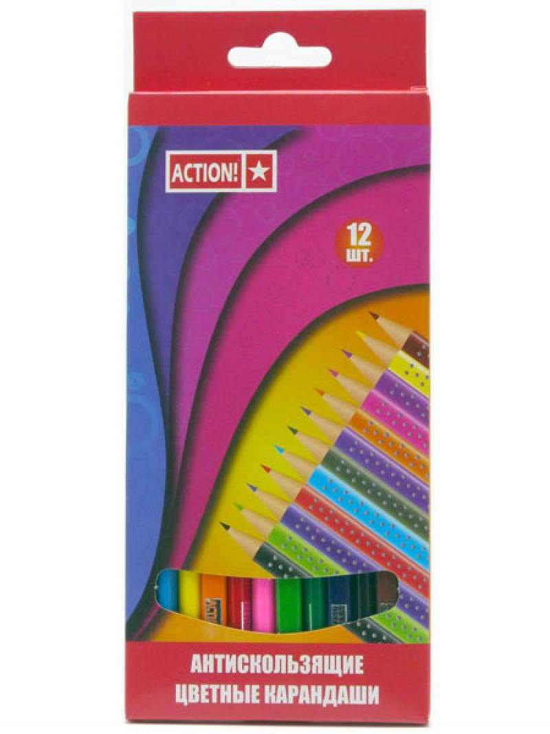 Набор карандашей Action! ACP210-12 12 шт action набор чернографитных карандашей антискользящих 4 шт
