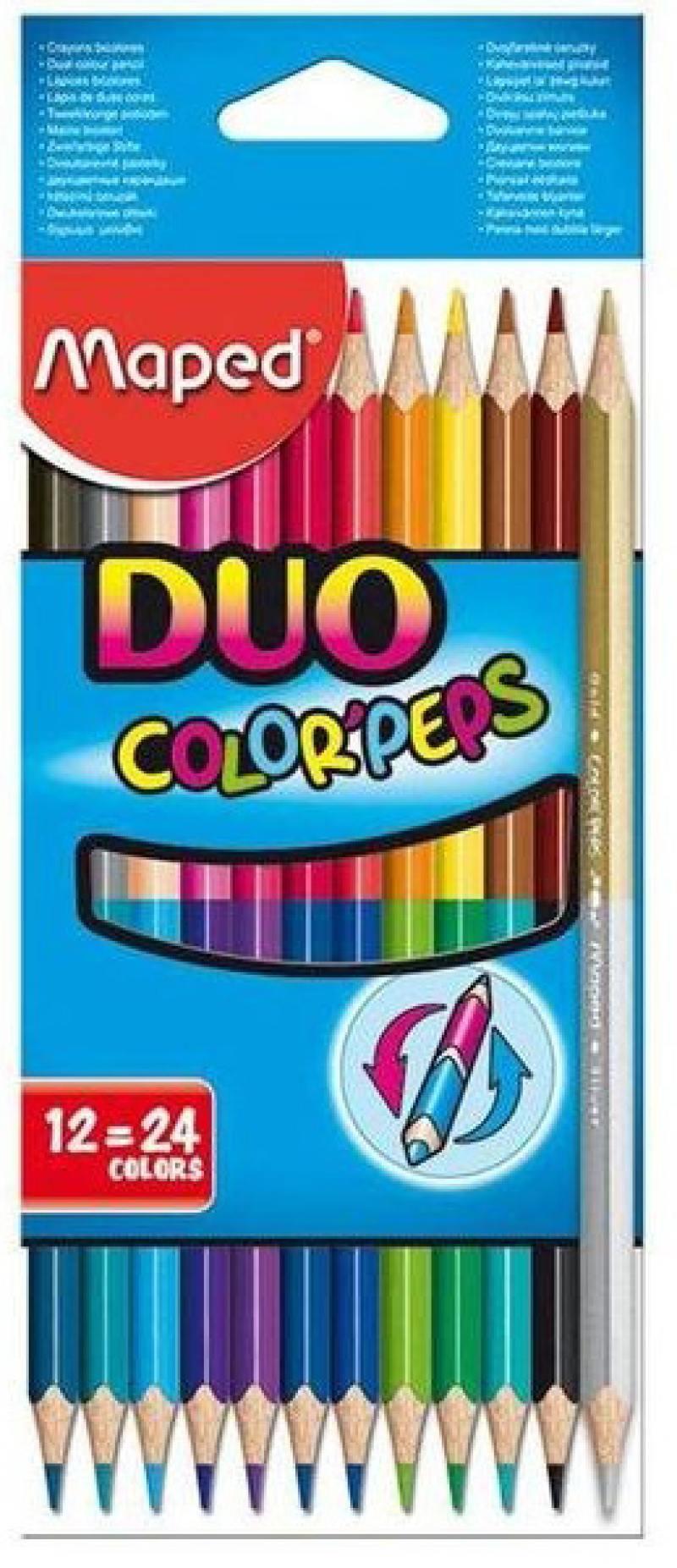 Набор цветных карандашей Maped Color Peps 12 шт 17.5 см двухсторонние 829600 набор карандашей цветных color peps 18цв треугольные из липы