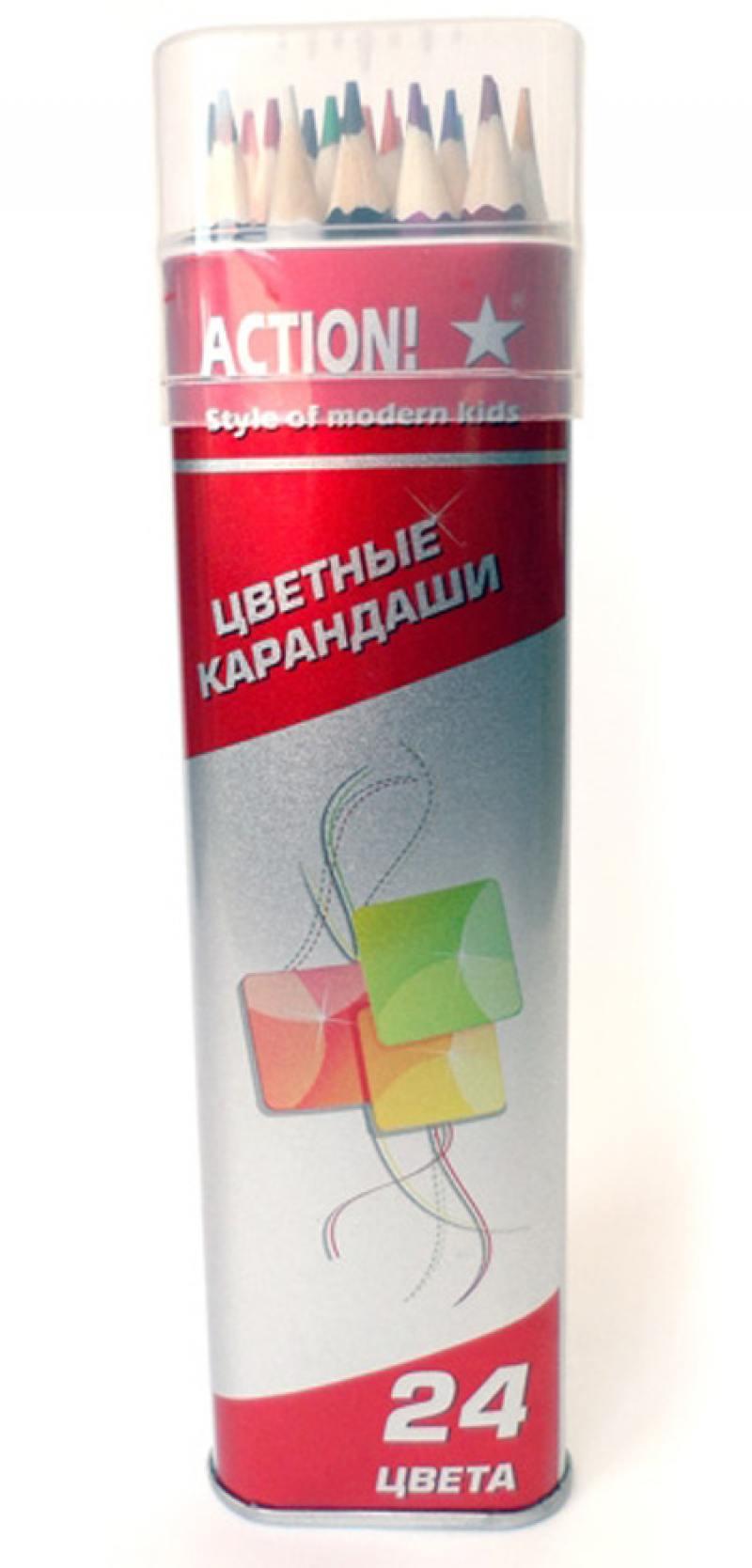 Набор цветных карандашей Action! ACP303-24 24 шт ACP303-24 набор цветных карандашей silwerhof 134206 24 народная коллекция 24 шт