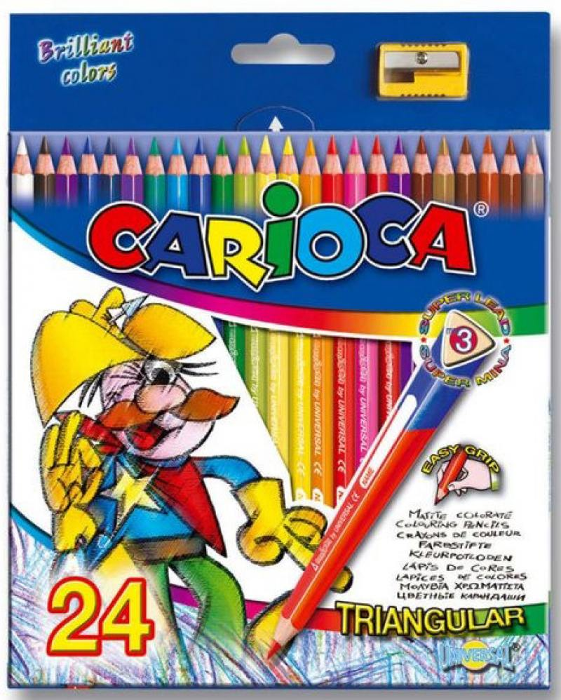 Набор цветных карандашей Universal Carioca Triangular 24 шт 42516/24 + точилка 42516/24 набор свечей для торта классика 24 шт 6см с держателями