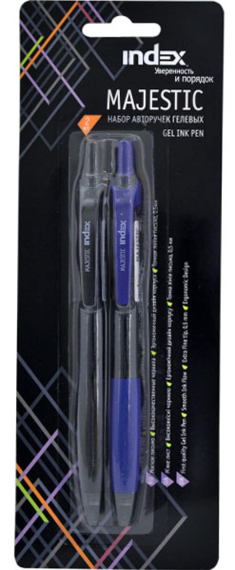 Набор гелевых ручек автоматическая Index Majestic 2 шт синий черный 0.5 мм IGP234/2 IGP234/2 набор шариковых ручек стамм ро06 3 шт разноцветный 1 мм ро06