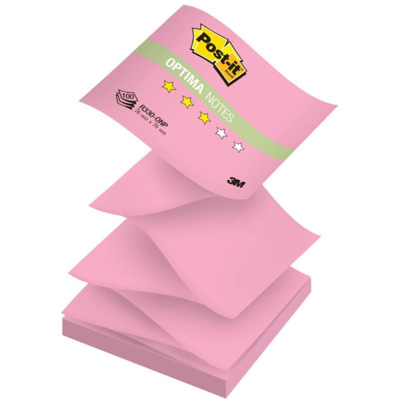 Бумага для заметок с липким слоем POST-IT OPTIMA -Осень, 76х76 мм, розовый неон, Z-слож., 100 л. R33 бумага для заметок с клеевым краем post it optima весна 76 76мм 100л салатовый неон