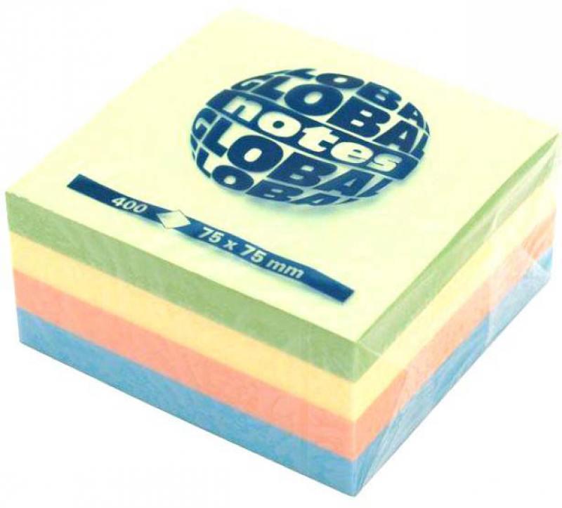Бумага с липким слоем Global 400 листов 75х75 мм многоцветный РАДУГА 382098 цена и фото