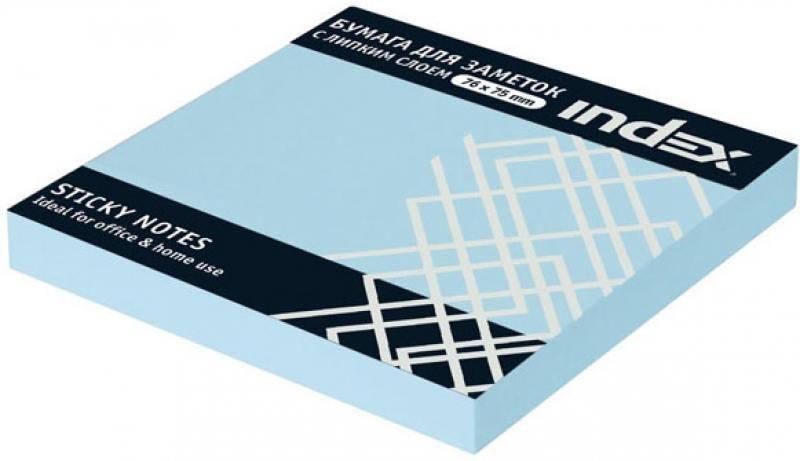 Бумага с липким слоем Index 100 листов 76х75 мм голубой I433802 браслет royal diamond с липким слоем отзывы