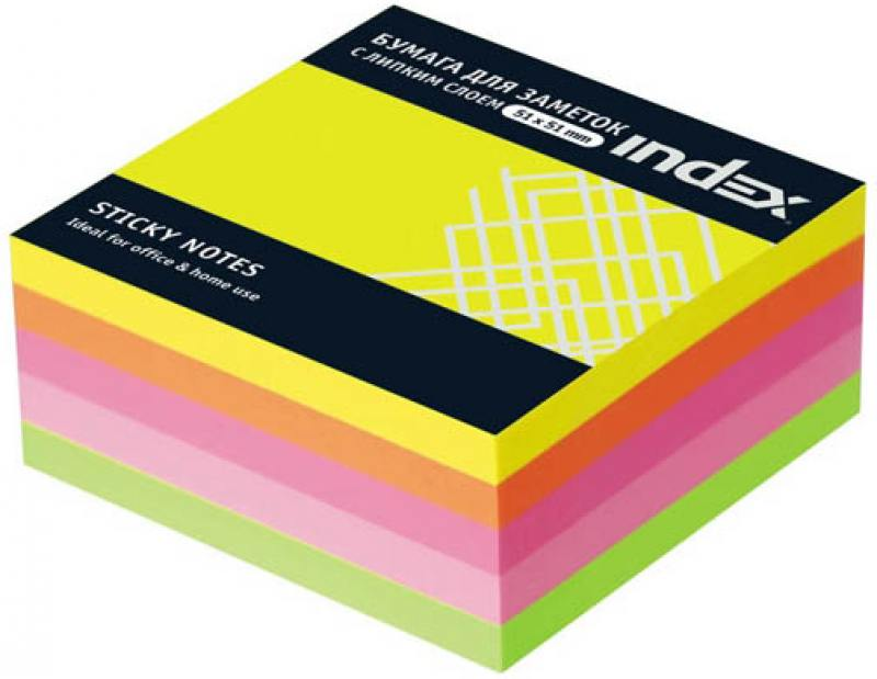 Бумага с липким слоем Index 250 листов 51х51 мм многоцветный МИНИ-КУБ I436810 бумага с липким слоем index 160 листов 12х44 мм многоцветный