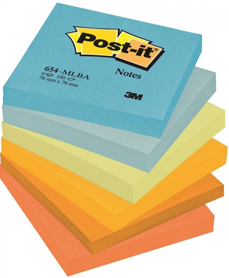 Бумага с липким слоем 3M 600 листов 76x76 мм многоцветный 654-MLBA цена и фото