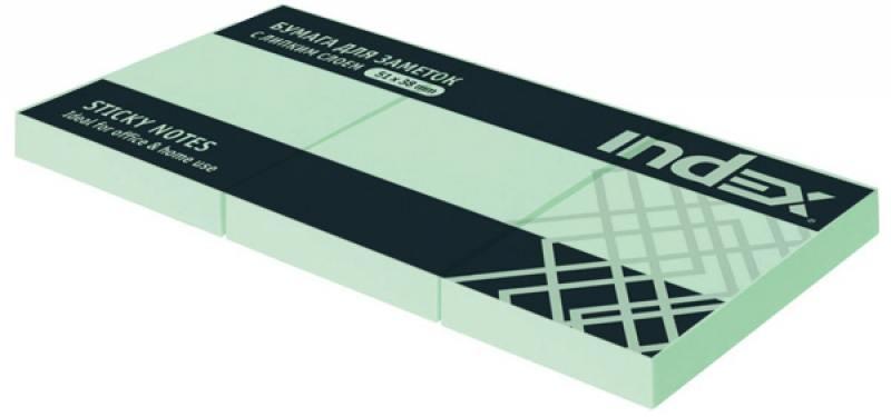 Набор бумаги с липким слоем Index 300 листов 51х38 мм зеленый I431803