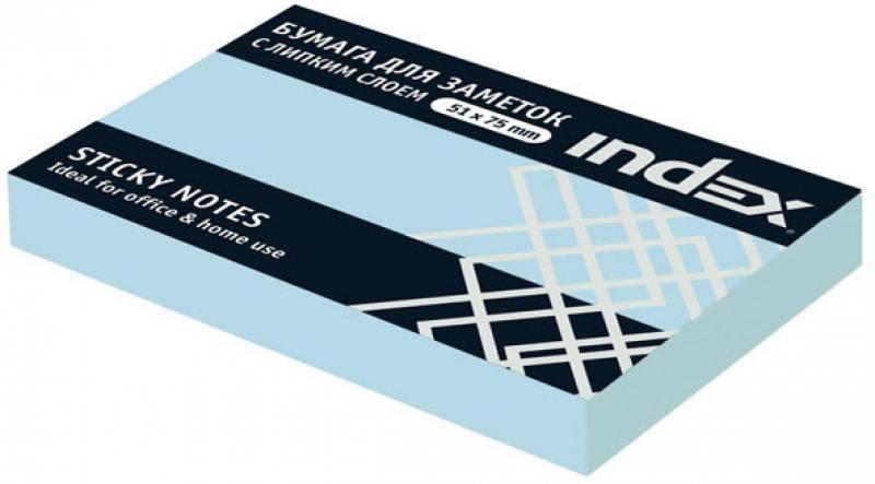 Бумага с липким слоем index 100 листов 51х75 мм голубой i432802