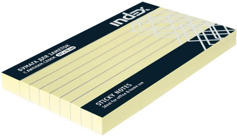 Бумага для заметок разлинованная с липким слоем, 100 листов, 127х75 мм, желтая I435808 brauberg бумага для заметок с липким слоем 7 6 х 7 6 см цвет зеленый 90 листов