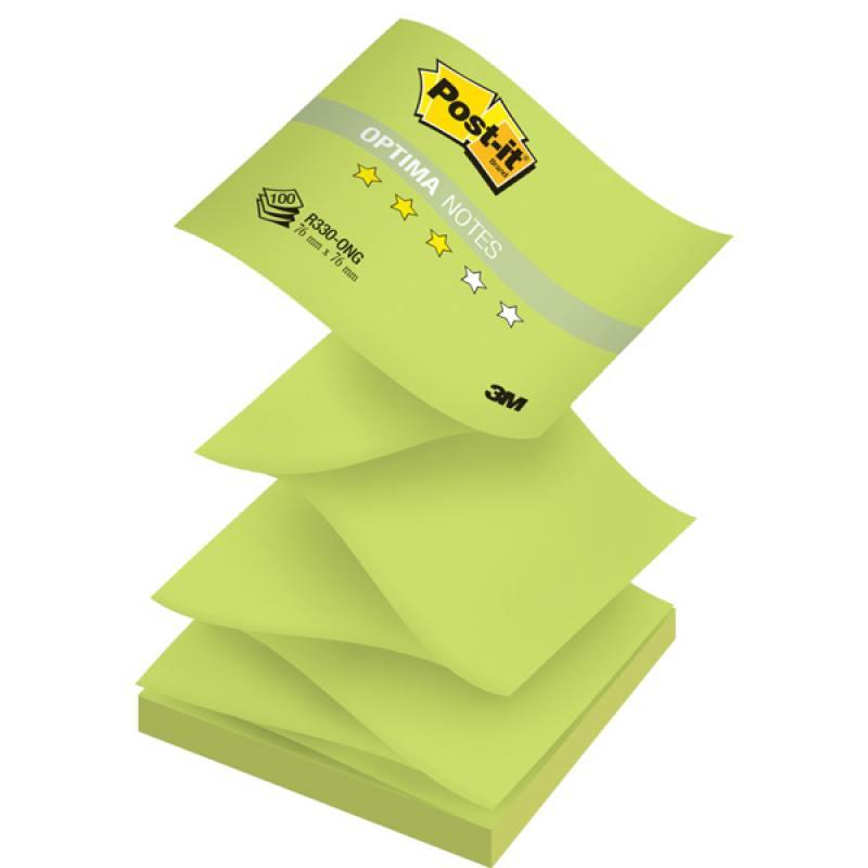 Бумага для заметок с липким слоем POST-IT OPTIMA -Весна, 76х76 мм, зеленый неон, Z-слож., 100 л. R33 бумага для заметок с клеевым краем post it optima весна 76 76мм 100л бирюзовый неон