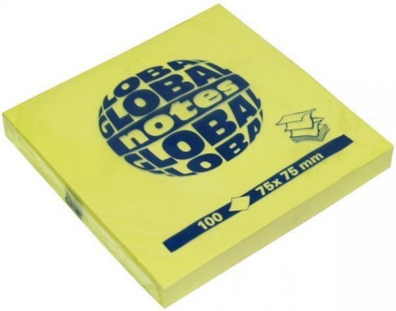 Бумага для заметок с липким слоем Z-сложения, разм. 75х75 мм, желтая, 100 л. 364401 наждачная бумага желтая p60 115 мм 50 м