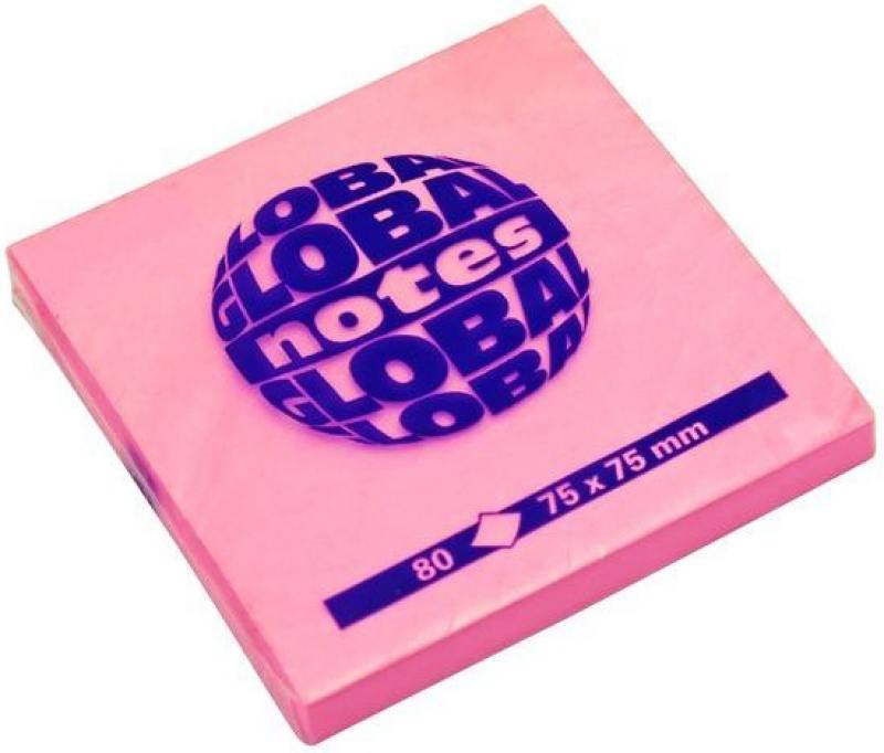 Бумага с липким слоем Global 80 листов 75х75 мм ярко-розовый 365432 наземный высокий светильник fumagalli globe 250 g25 158 000 aye27