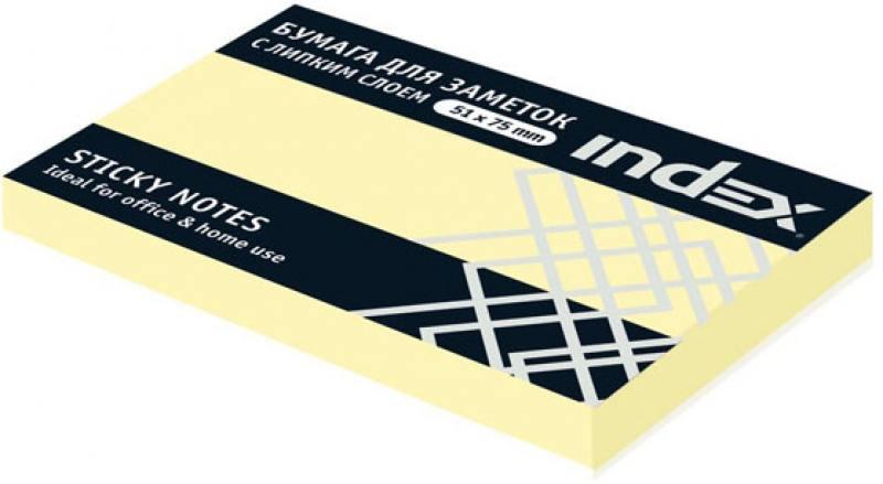 Бумага с липким слоем Index 100 листов 51х75 мм желтый I432601 степлер index ims310 gy 20 листов