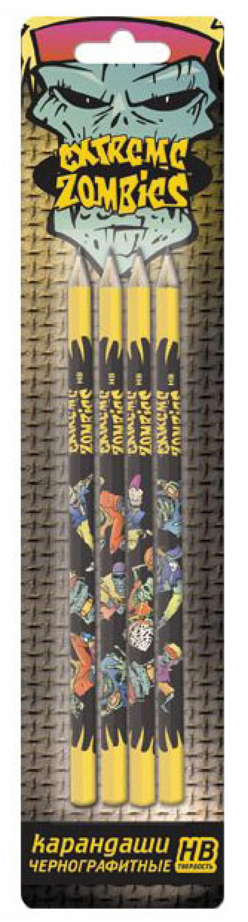 Картинка для Карандаши чернографитные Action! Extreme Zombie 4 шт EZ-ALP185/4 с печатью на корпусе EZ-ALP185/4