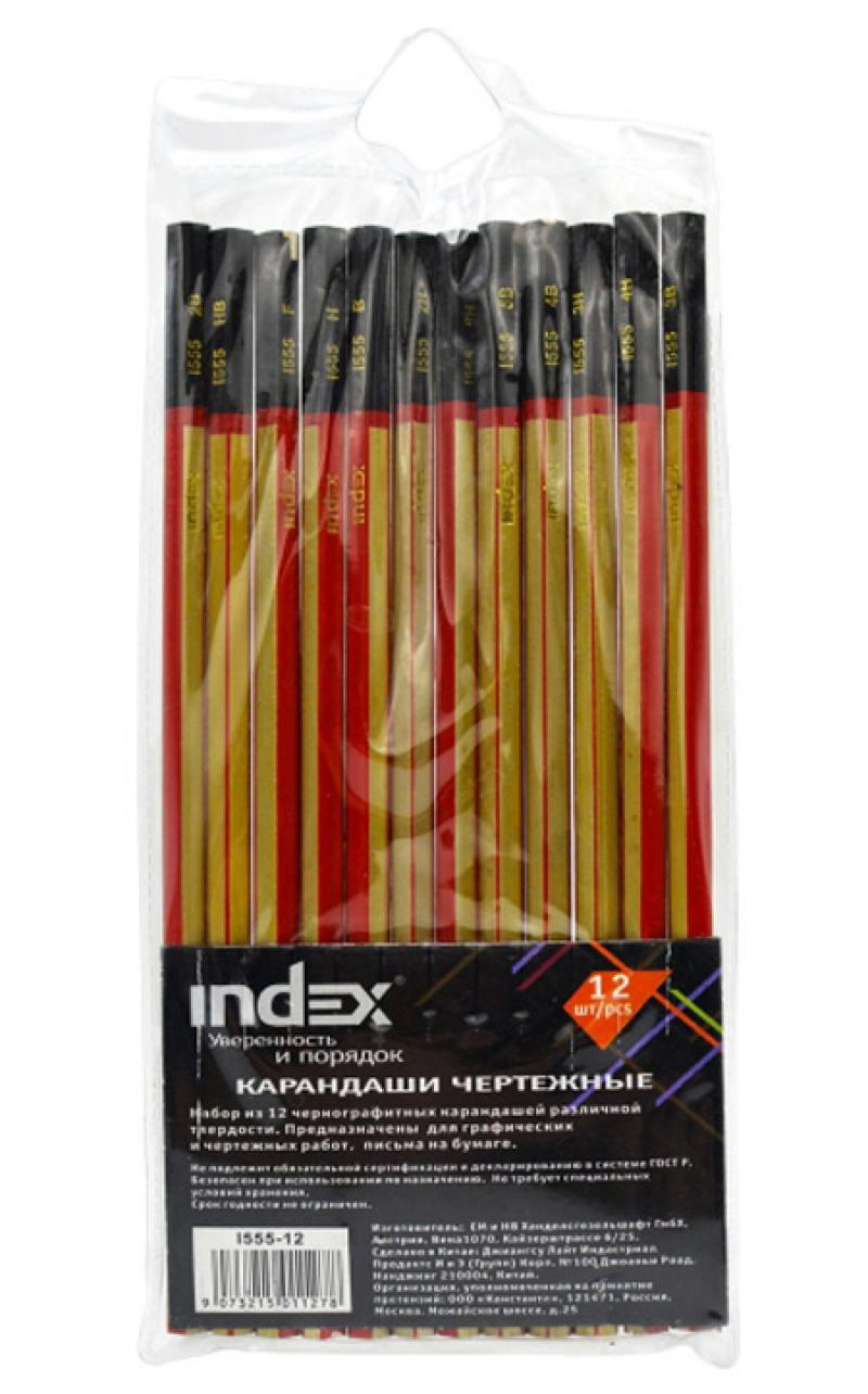 Карандаши чернографитные Index I555-12 12 шт I555-12 набор графитовых карандашей index i555 6 6 шт