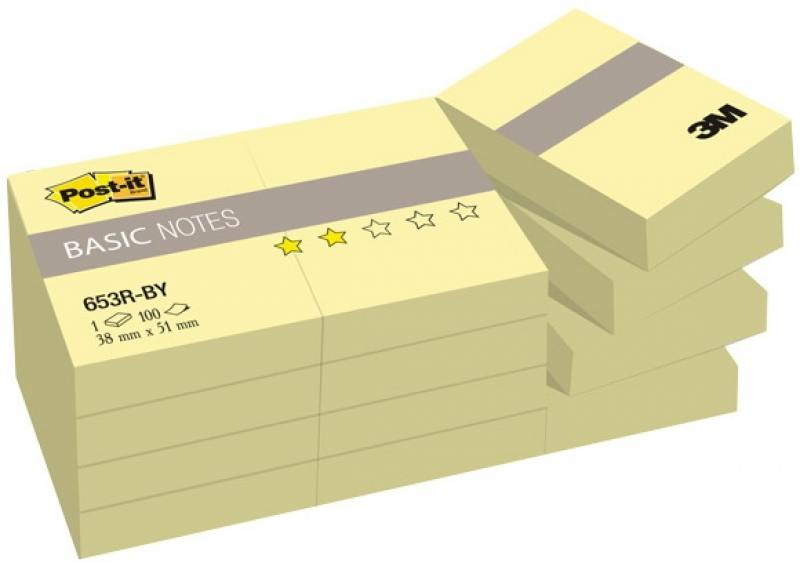 Блокнот 3M 653R-BY Post-it Basic 38х51 мм 100 листов 7100033526 3m 653rpa post it recycled notes 1 3 8x1 7 8 100 sheets 1 pack of 2