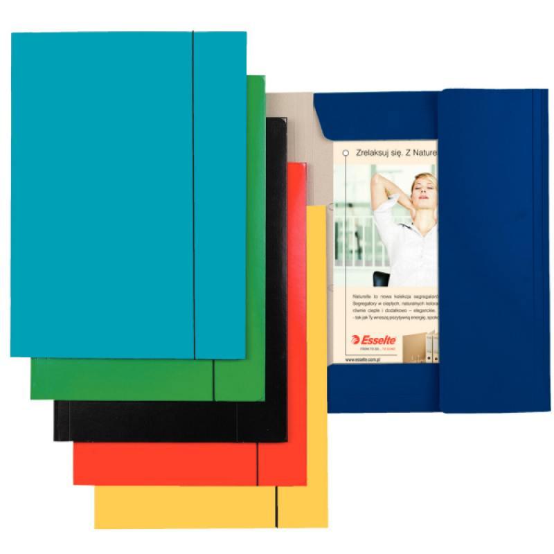 Папка на резинках ESSELTE, ф.А4, лакированный картон (400 г/м2), голубая 13435 папка esselte на 4х кольцах