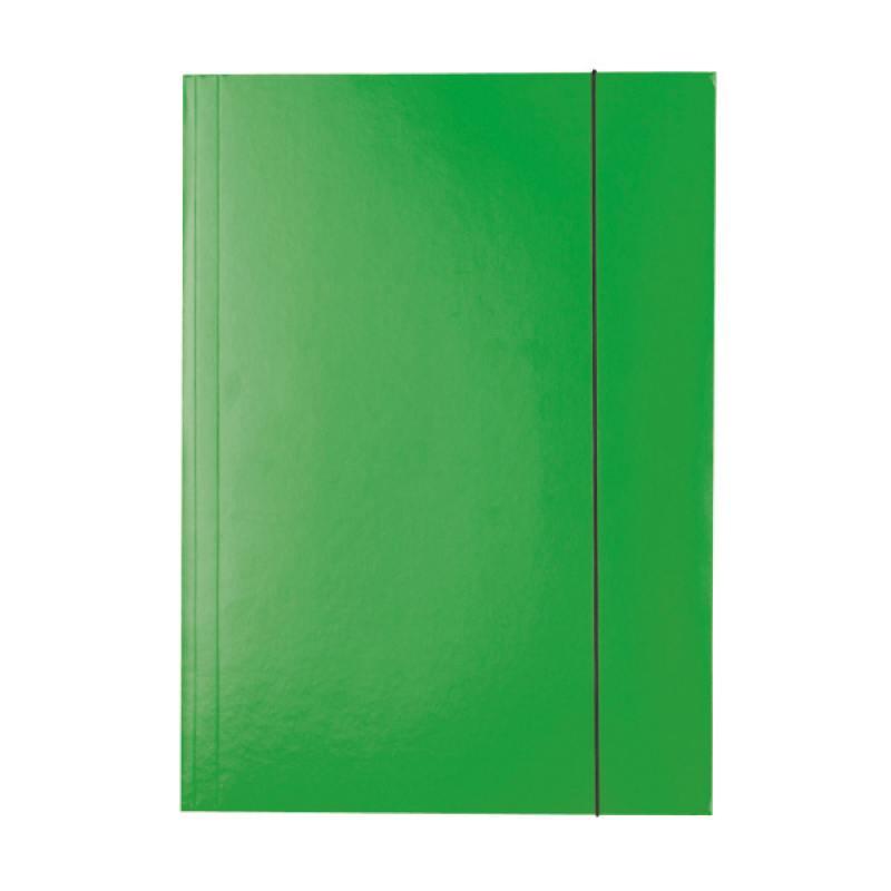 Папка на резинках ESSELTE, ф.А4, лакированный картон (400г/м2), зеленая 13437