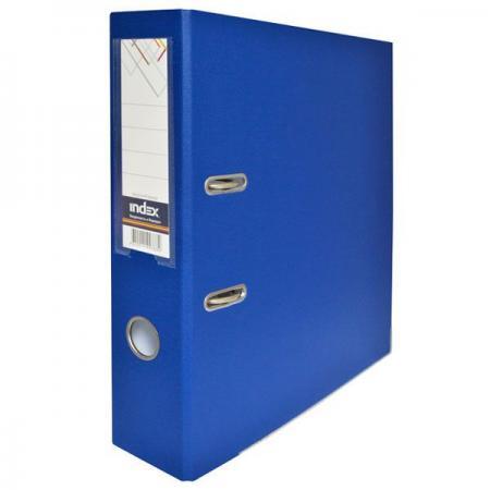 Папка-регистратор с покрытием PVC, 80 мм, А4, синяя IND 8/50 PP BU папка proff а4 60 карманов синяя