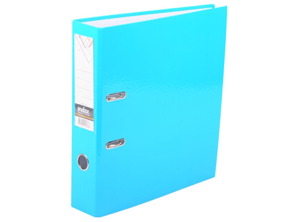 Папка-регистратор COLOURPLAY, 80 мм, ламинированная, неоновая голубая папка регистратор 80 мм ламинированная серая 2