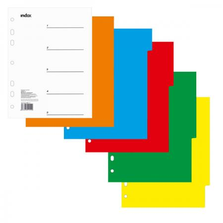 Разделитель пластиковый, цветной (5 цв.), А5 IND111 цена и фото