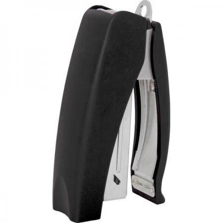Cтеплер, скоба № 24/6, на 20 листов, вертикальный, прорезиненный корпус, антистеплер, черный цена