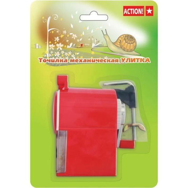 Точилка механическая Улитка ACTION!, пластиковый корпус, блистер c е/подвесом, ассорти 3 цвета ASH61 канцелярия action механическая точилка улитка
